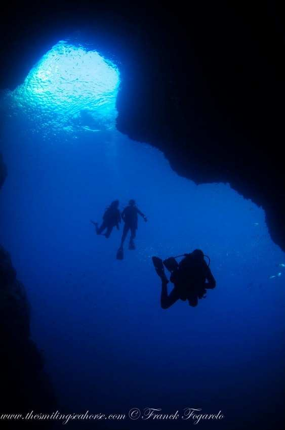 Deep diving in a cave...