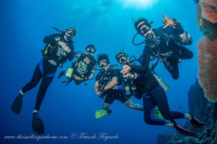 Happy divers in the blue