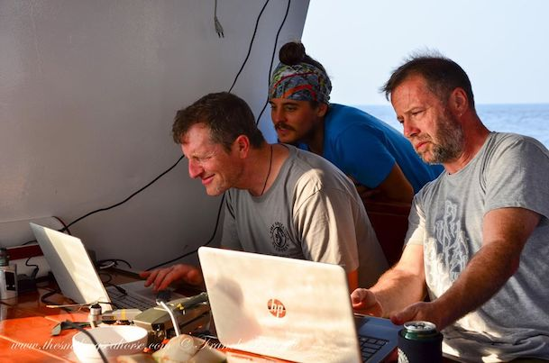 editing photos on Smiling Seahorse liveaboard