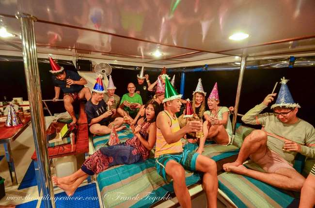 New year celebration on a scuba liveaboard